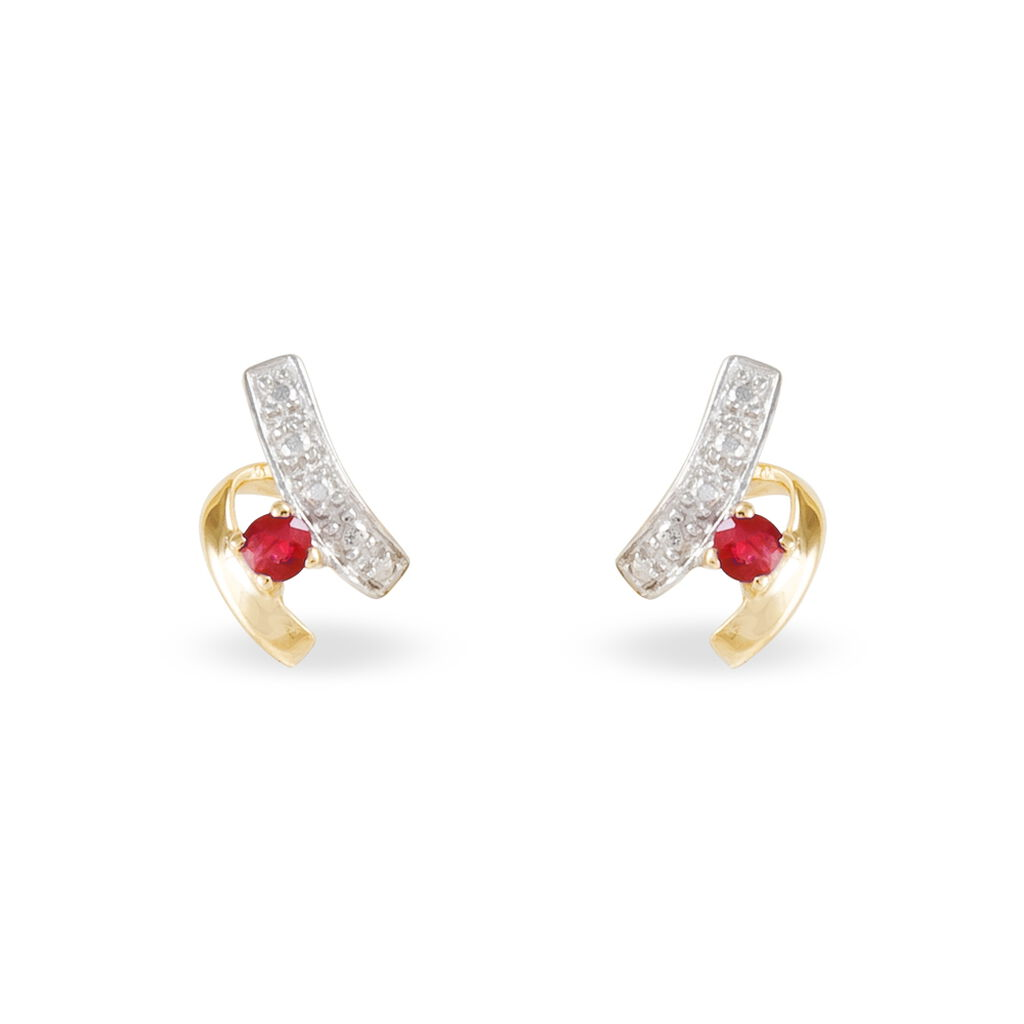 Boucles D'oreilles Puces Kirsten Or Jaune Rubis Et Diamant - Clous d'oreilles Femme | Histoire d'Or