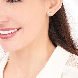 Boucles D'oreilles Puces Anne-maudae Triple Coeurs Or Bicolore - Boucles d'Oreilles Coeur Femme | Histoire d'Or