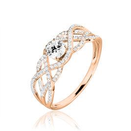 Bague Solitaire Liora Or Rose Diamant - Bagues avec pierre Femme   Histoire d'Or