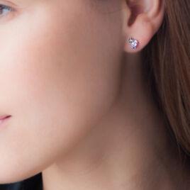 Boucles D'oreilles Puces Or Blanc Amethyste Et Quartz - Clous d'oreilles Femme | Histoire d'Or