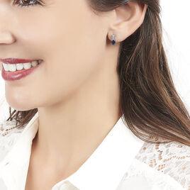 Boucles D'oreilles Puces Andrea Or Blanc Saphir Et Diamant - Clous d'oreilles Femme   Histoire d'Or