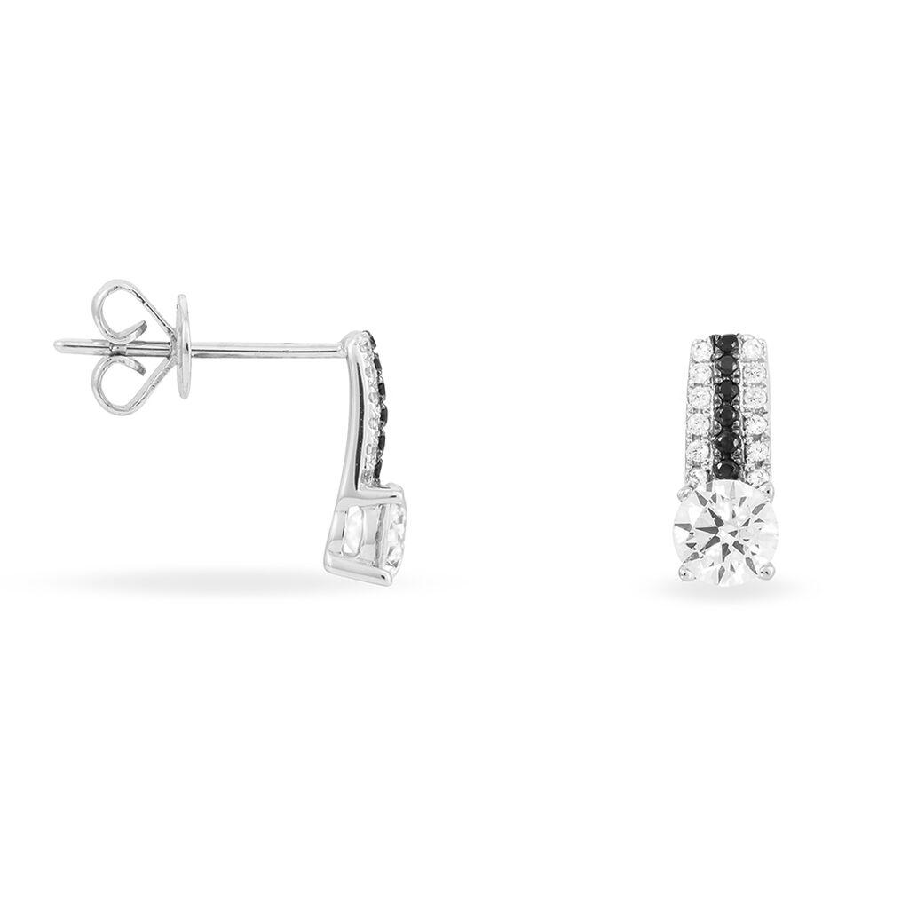 Boucles D'oreilles Puces Katrina Or Blanc Oxyde De Zirconium - Clous d'oreilles Femme   Histoire d'Or