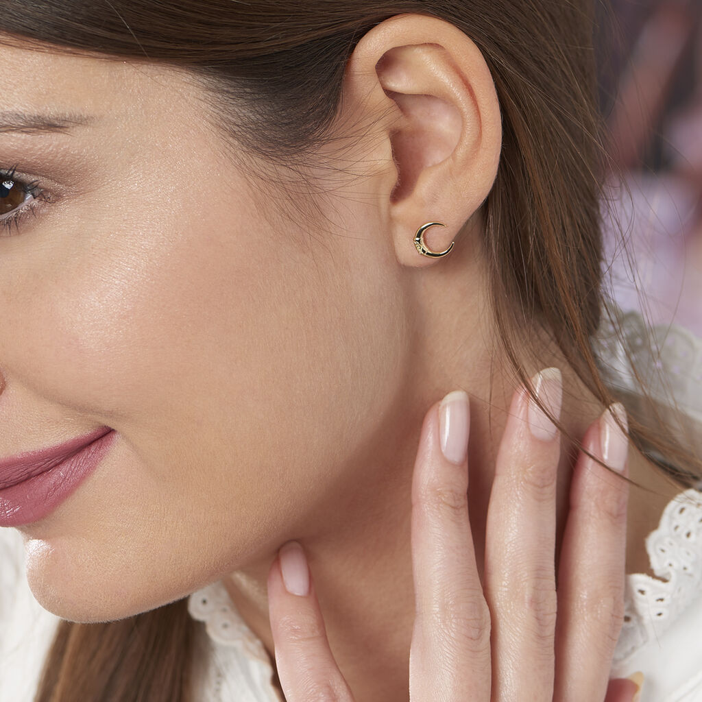 Boucles D'oreilles Puces Ginia Plaque Or Jaune - Boucles d'oreilles fantaisie Femme | Histoire d'Or