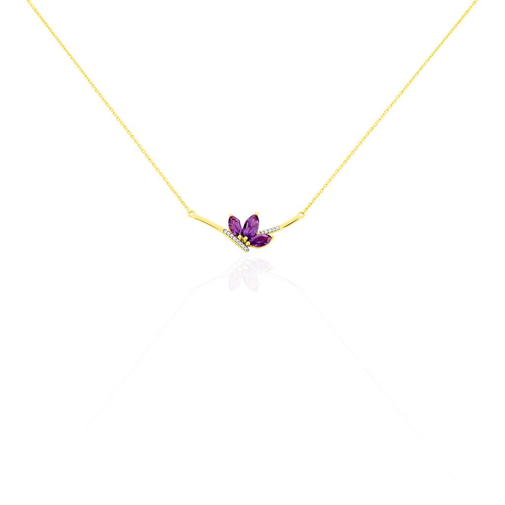 Collier Augustina Or Jaune Amethyste Oxyde De Zirconium - Bijoux Femme   Histoire d'Or