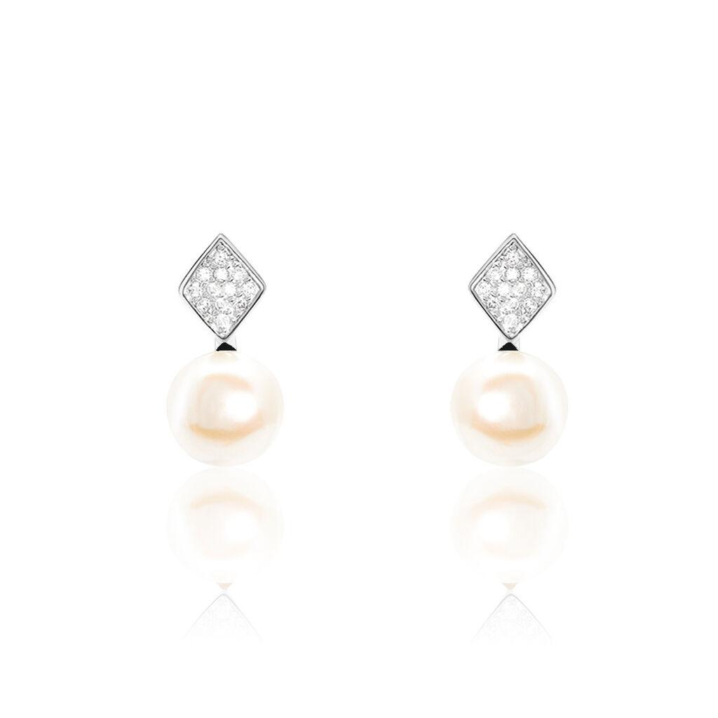 Boucles D'oreilles Pendantes Shirine Argent Perle De Culture Et Oxyde - Boucles d'oreilles fantaisie Femme | Histoire d'Or