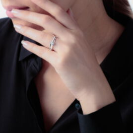 Bague Asnia Or Blanc Oxyde De Zirconium - Bagues solitaires Femme   Histoire d'Or