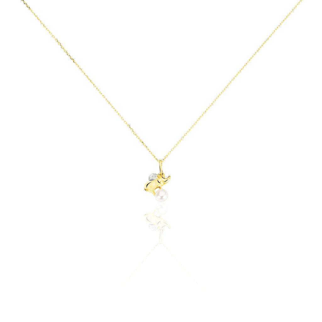 Collier Or Jaune Perle De Culture Et Diamant - Colliers Naissance Enfant | Histoire d'Or