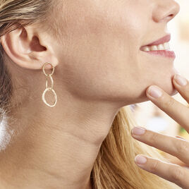 Boucles D'oreilles Pendantes Jiao Plaque Or Jaune - Boucles d'oreilles pendantes Femme   Histoire d'Or