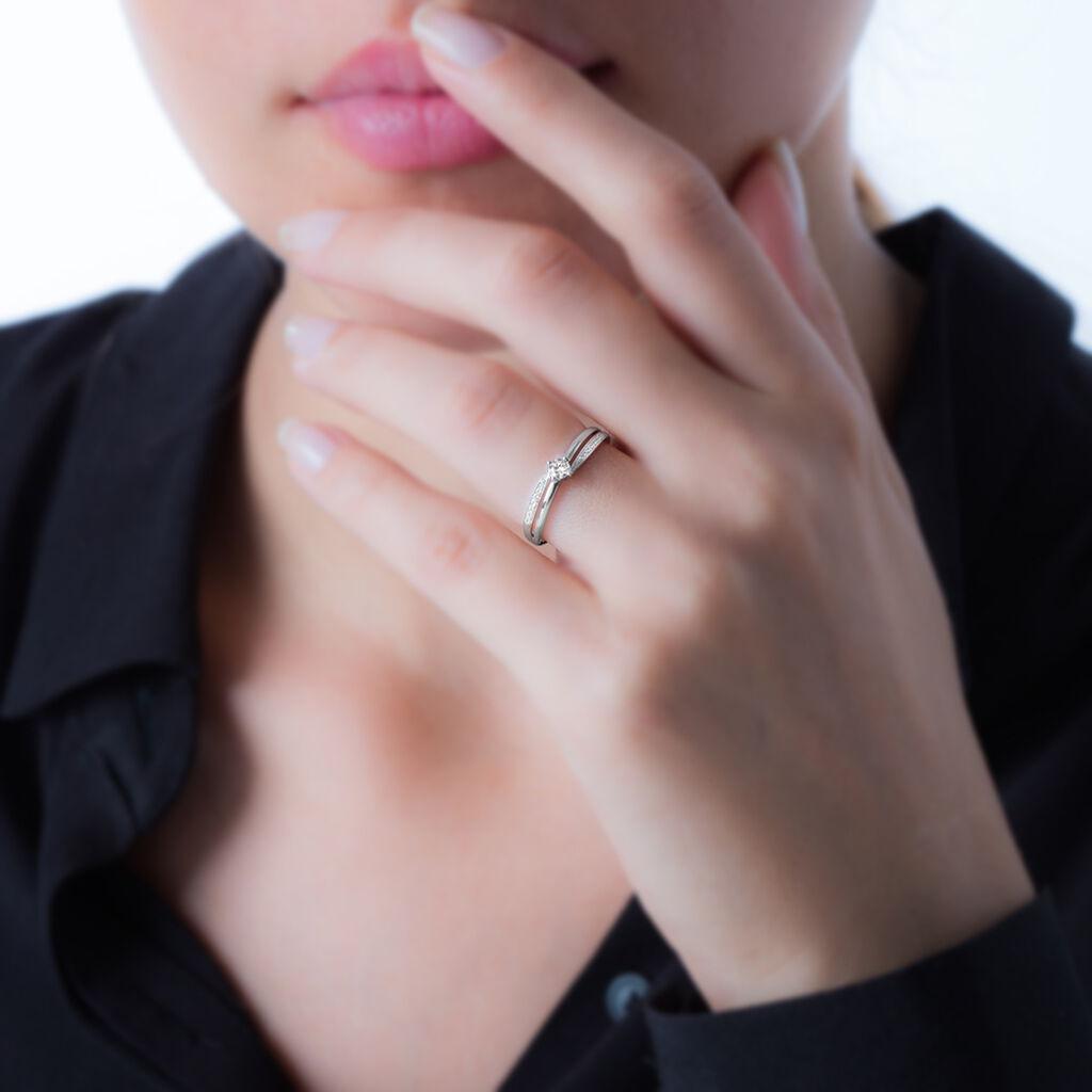 Bague Selene Or Blanc Diamant - Bagues solitaires Femme   Histoire d'Or