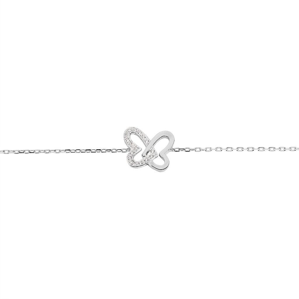 Bracelet Delphe Argent Blanc Oxyde De Zirconium - Bracelets Papillon Femme   Histoire d'Or