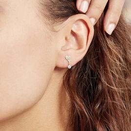 Boucles D'oreilles Pendantes Rihabe Or Jaune Oxyde De Zirconium - Boucles d'Oreilles Coeur Femme | Histoire d'Or