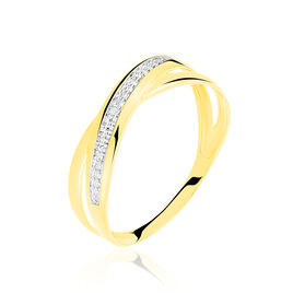 Bague Croisee Or Jaune Diamant - Bagues avec pierre Femme | Histoire d'Or