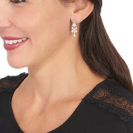 Boucles D'oreilles Pendantes Violette Or Blanc Oxyde De Zirconium - Boucles d'oreilles pendantes Femme   Histoire d'Or