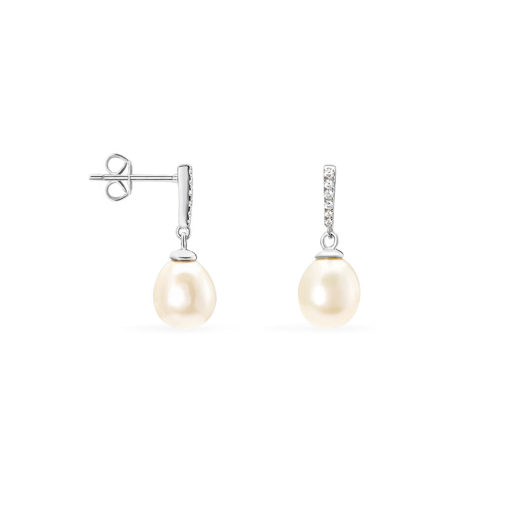 Boucles D'oreilles Argent Perles De Culture - Boucles d'oreilles fantaisie Femme | Histoire d'Or