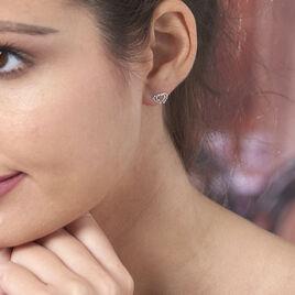 Boucles D'oreilles Or Blanc Coeur - Boucles d'Oreilles Coeur Femme   Histoire d'Or