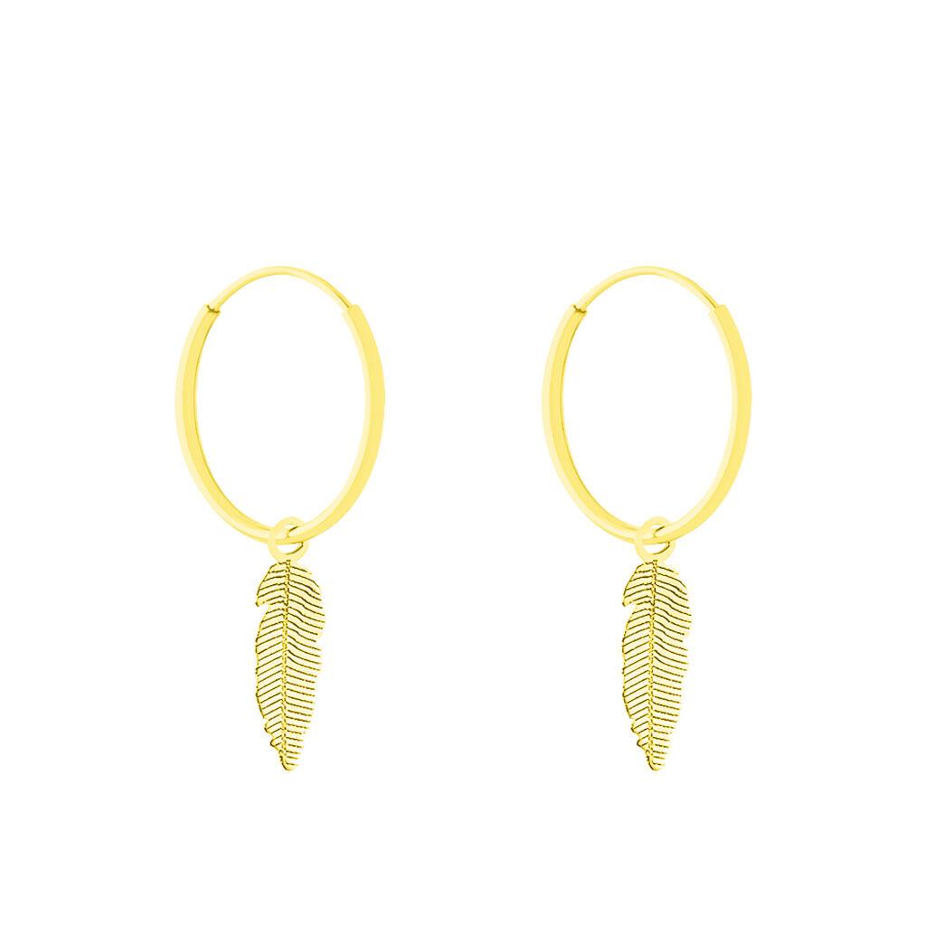 Créoles Belita Pampille Rondes Plume Or Jaune - Boucles d'Oreilles Plume Femme | Histoire d'Or