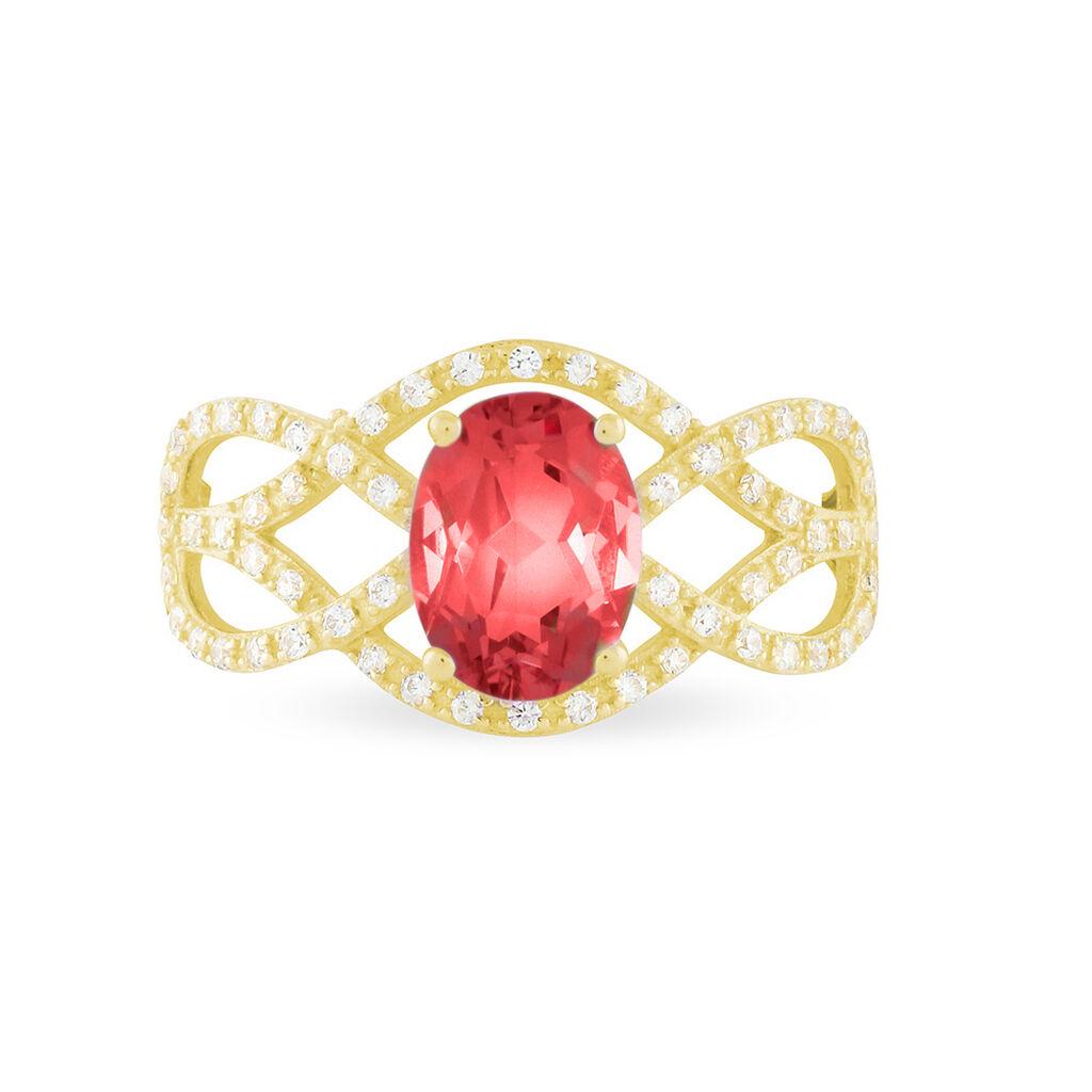 Bague Tina Or Jaune Rubis Et Diamant - Bagues avec pierre Femme   Histoire d'Or