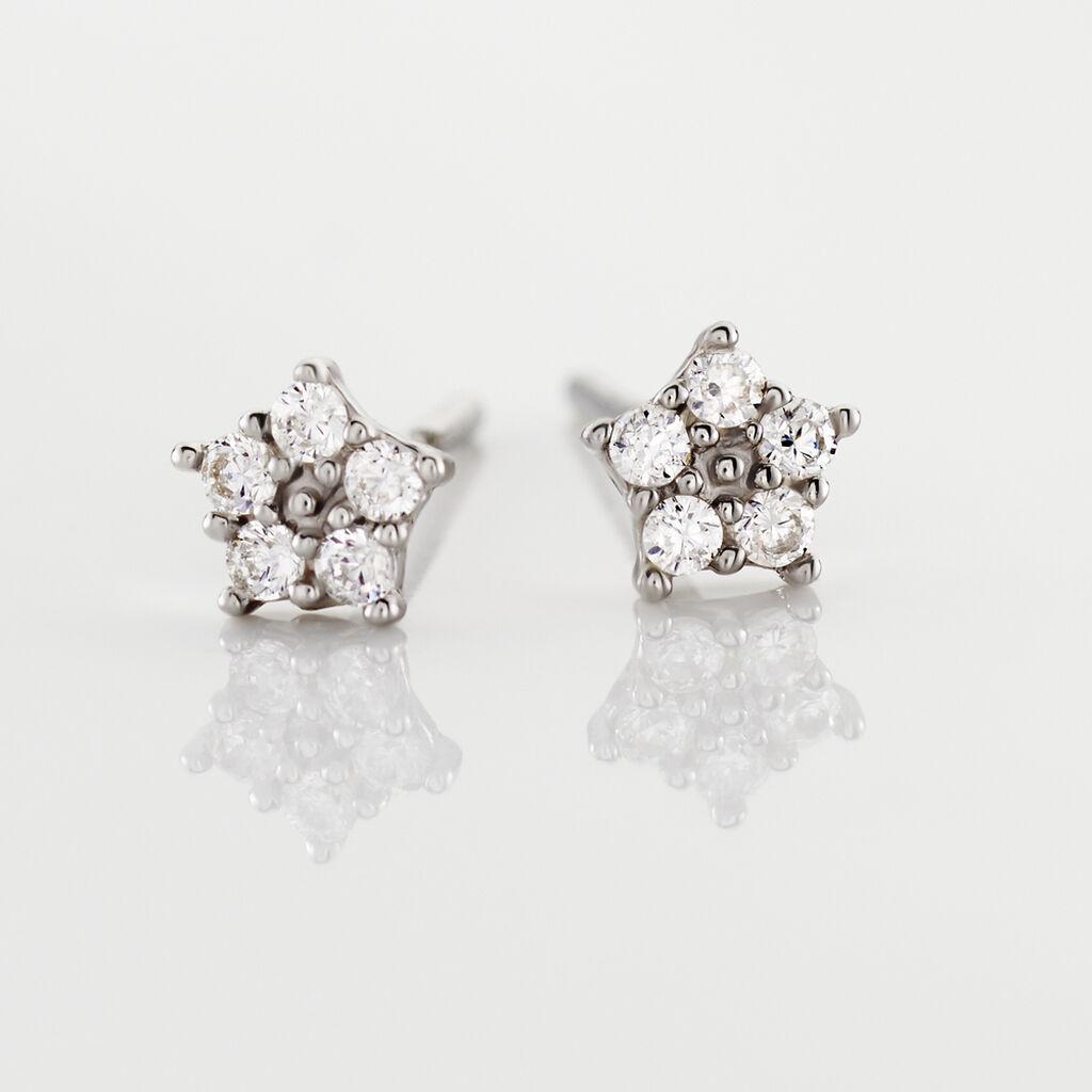 Boucles D'oreilles Puces Elais Etoile Or Blanc Oxyde De Zirconium - Boucles d'Oreilles Etoile Femme   Histoire d'Or