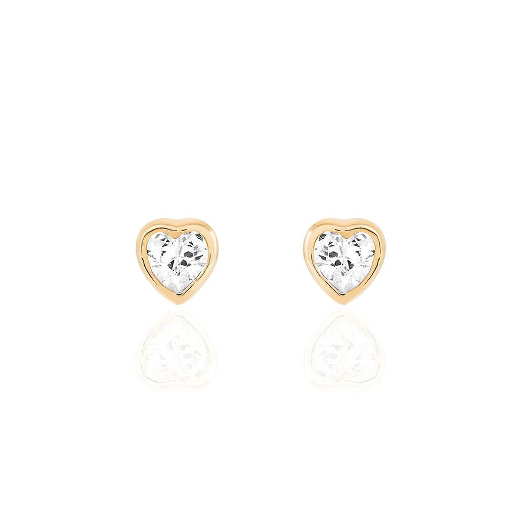 Boucles D'oreilles Puces Plaqué Or  - Boucles d'Oreilles Coeur Femme   Histoire d'Or