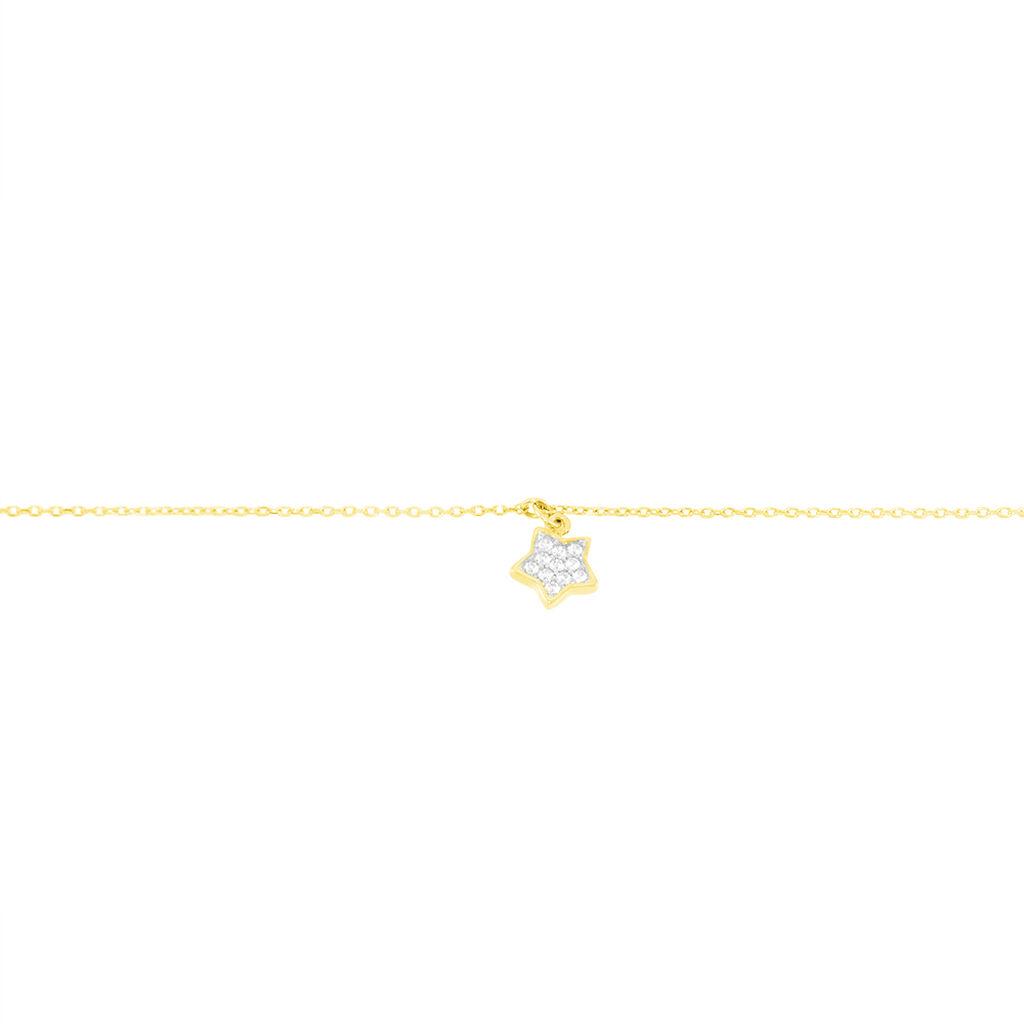 Chaîne De Cheville Valentiane Or Jaune Oxyde De Zirconium - Bijoux Etoile Femme | Histoire d'Or
