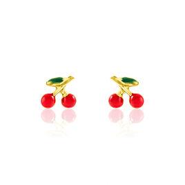 Boucles D'oreilles Puces Cherry Cerise Or Jaune - Clous d'oreilles Enfant   Histoire d'Or