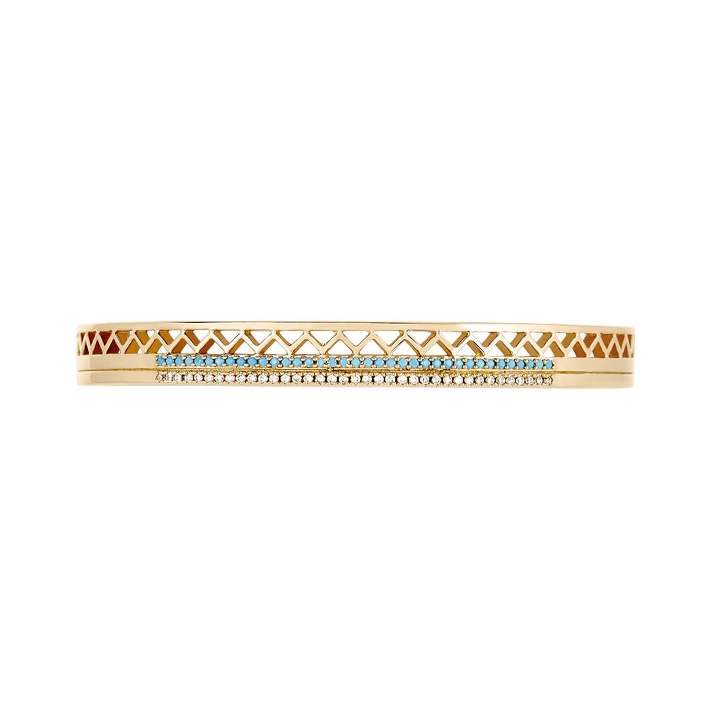 Bracelet Jonc Zoila Plaque Or Pierre De Synthese Et Oxyde - Bracelets joncs Femme   Histoire d'Or