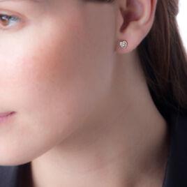 Boucles D'oreilles Puces Coeur Serti Clos Or Jaune Oxyde De Zirconium - Boucles d'Oreilles Coeur Femme | Histoire d'Or