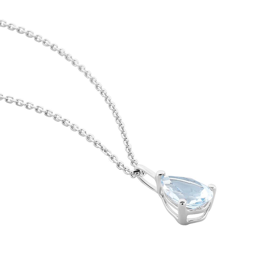Collier Goutte Or Blanc Topaze