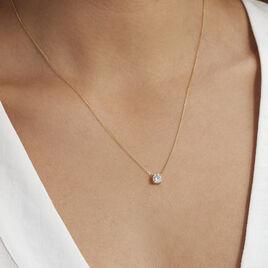 Collier Or Jaune Victoria Solitaire Diamant Synthetique - Bijoux Femme   Histoire d'Or