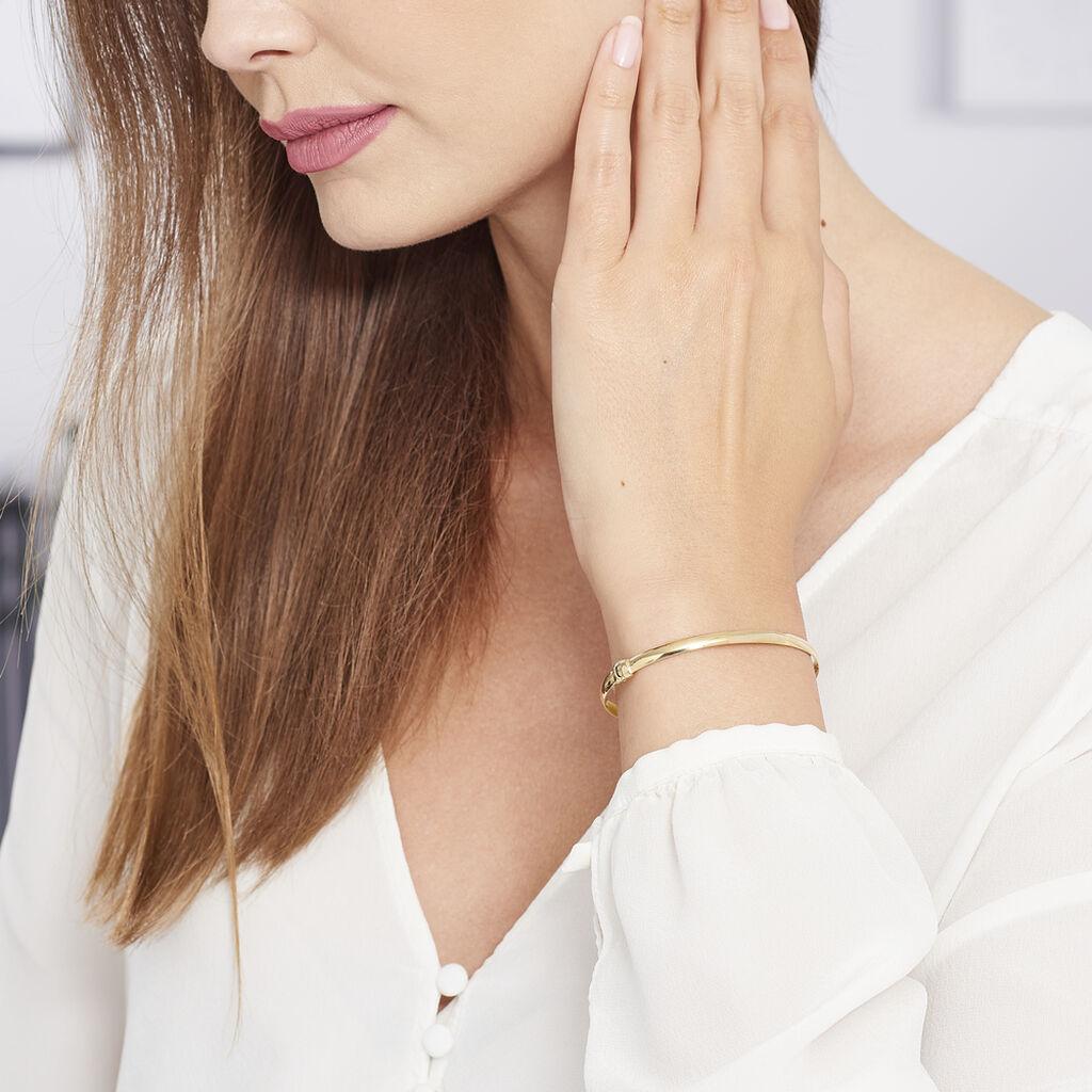Bracelet Jonc Cynthia Fil Plat Lisse Or Jaune - Bracelets joncs Femme   Histoire d'Or