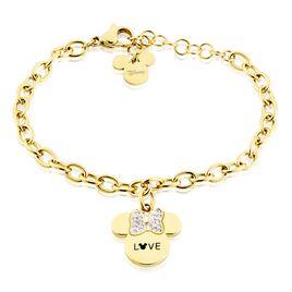 Bracelet Disney Acier Doré Cristaux - Bracelets Naissance Enfant | Histoire d'Or