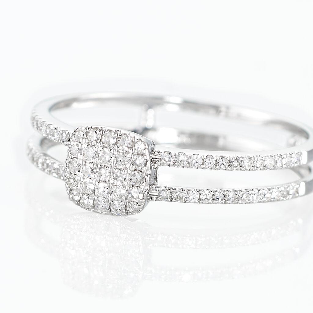 Bague Or Blanc Aude Coussin Diamants - Bagues avec pierre Femme | Histoire d'Or