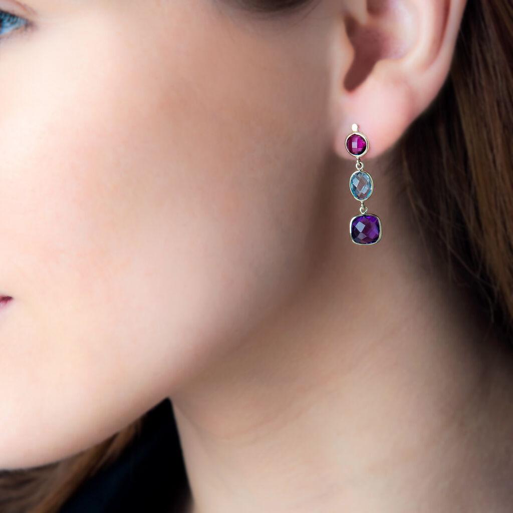 Boucles D'oreilles Pendantes Or Jaune Rhodolite Et Amethyste Et Topaze - Boucles d'oreilles pendantes Femme | Histoire d'Or