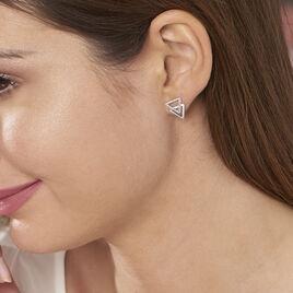 Boucles D'oreilles Puces Glorya Argent Blanc Oxyde De Zirconium - Boucles d'oreilles fantaisie Femme | Histoire d'Or