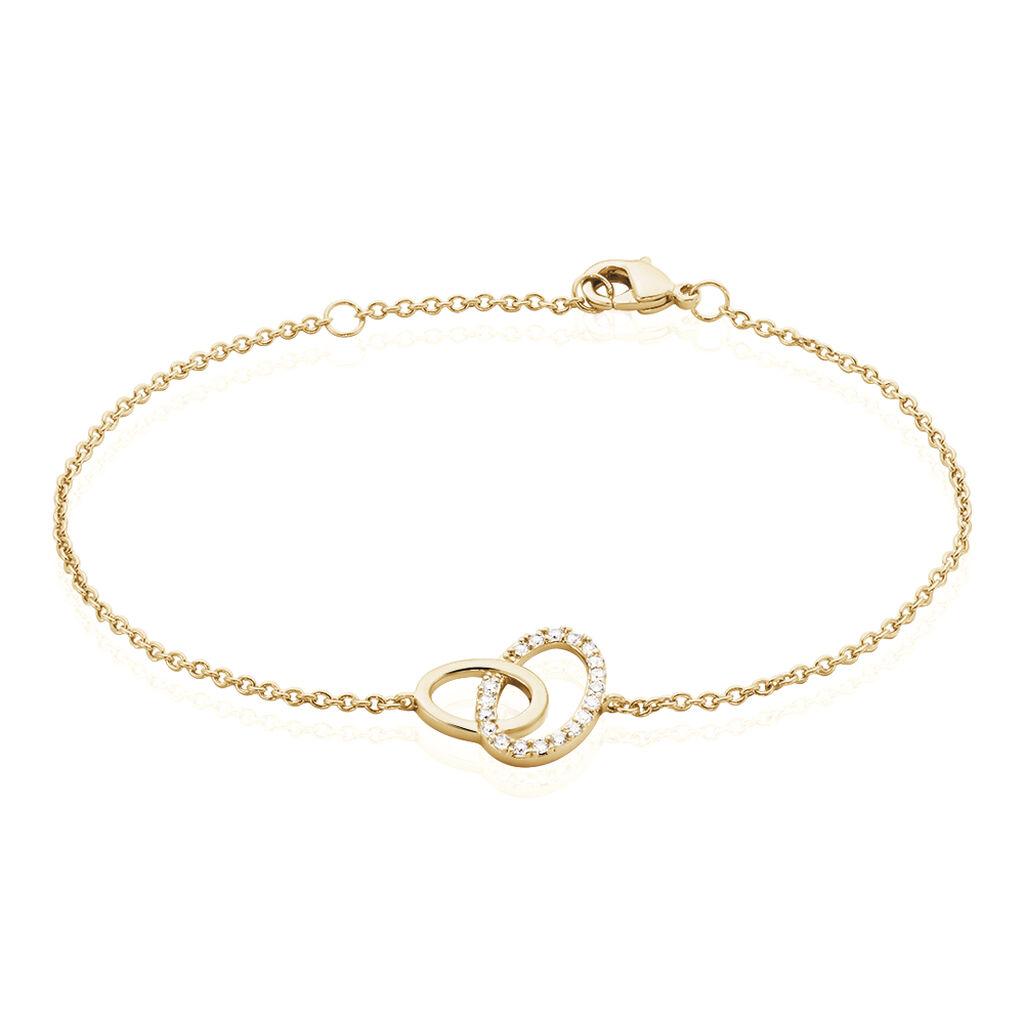 Bracelet Kimberlie Plaque Or Jaune Oxyde De Zirconium - Bracelets fantaisie Femme   Histoire d'Or
