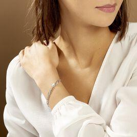Bracelet Jeremi Maille Alternee 1/3 Et Plaquettes Argent Blanc - Bracelets fantaisie Femme   Histoire d'Or