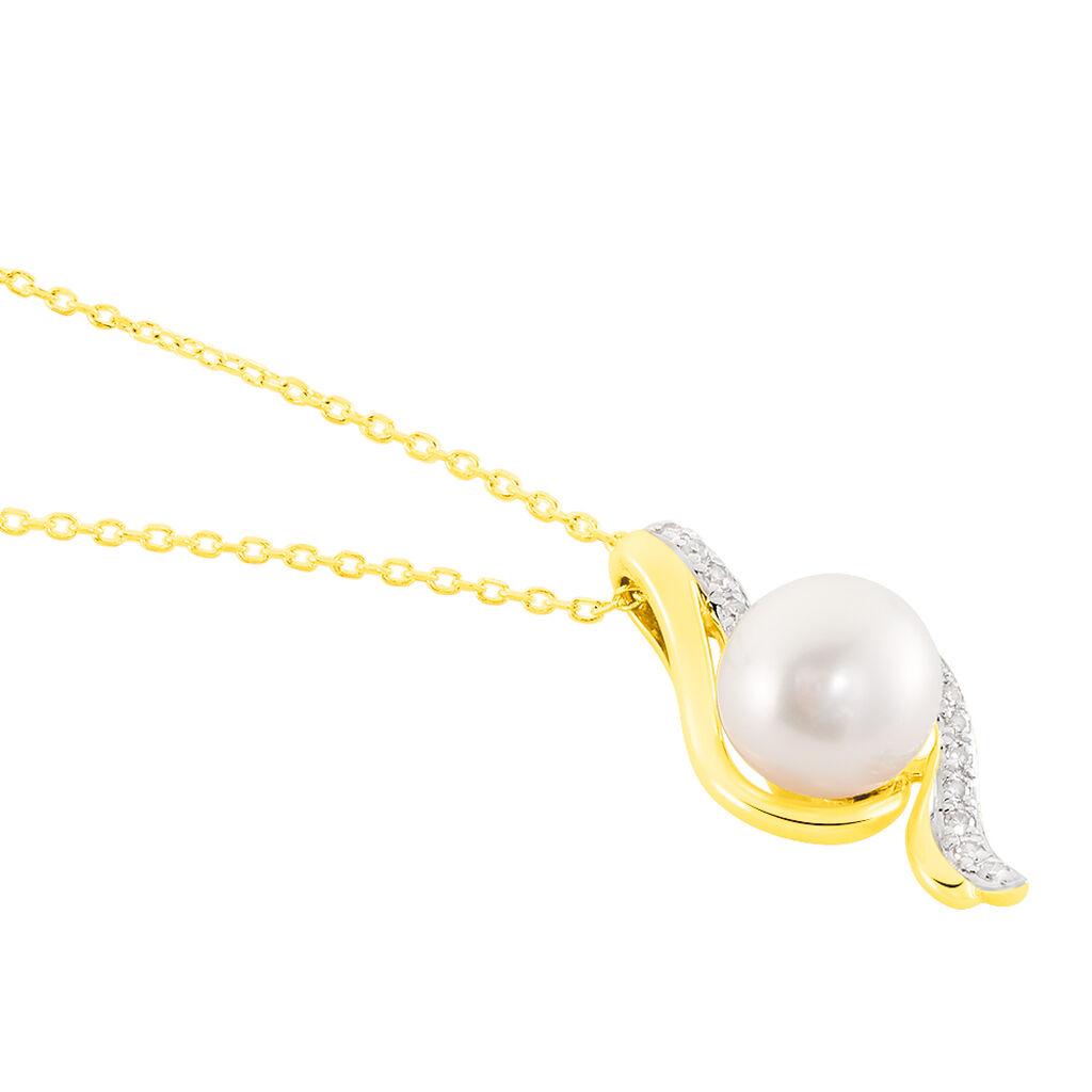 Collier Grazilla Or Bicolore Perle De Culture Et Diamant - Bijoux Femme   Histoire d'Or