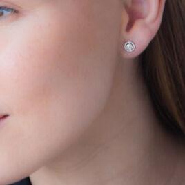 Boucles D'oreilles Puces Soleil D'hiver Or Blanc Diamant - Clous d'oreilles Femme   Histoire d'Or