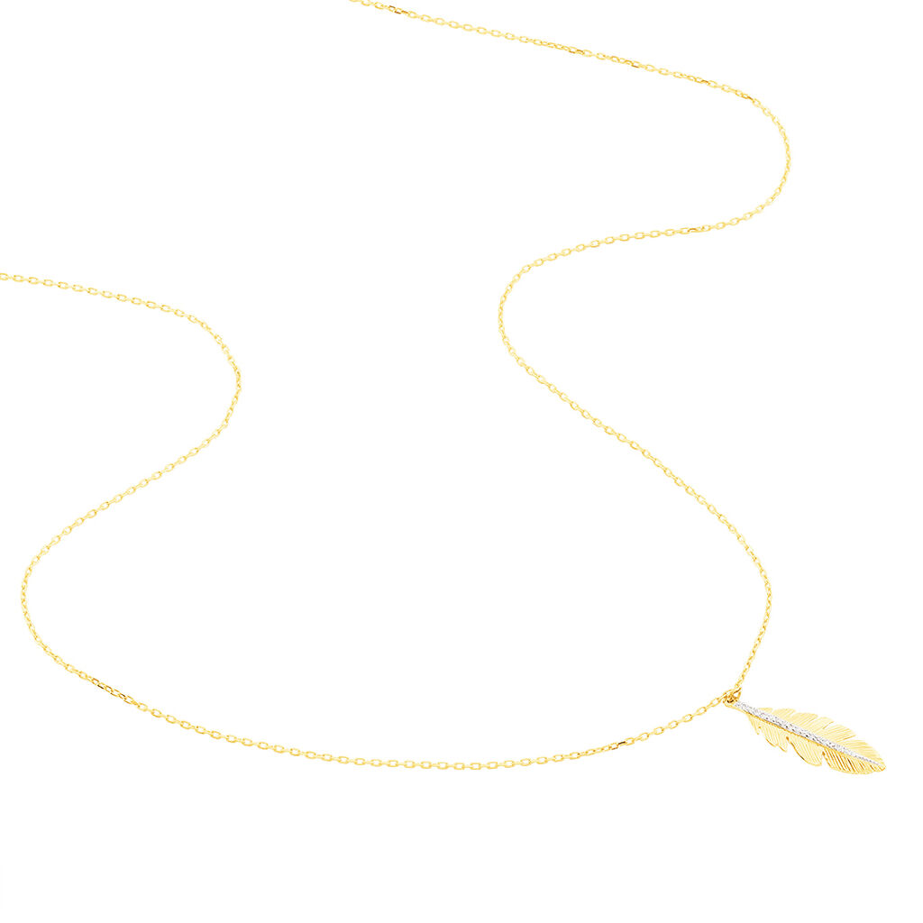 Collier Paola Or Jaune Diamant - Colliers Plume Femme   Histoire d'Or