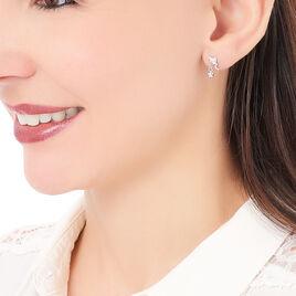 Boucles D'oreilles Pendantes Alison Argent Blanc Pierre De Synthese - Boucles d'Oreilles Etoile Femme   Histoire d'Or