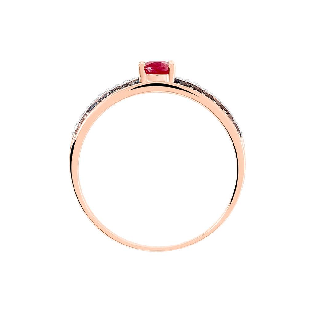 Bague Lexina Or Rose Rubis Et Diamant - Bagues avec pierre Femme   Histoire d'Or