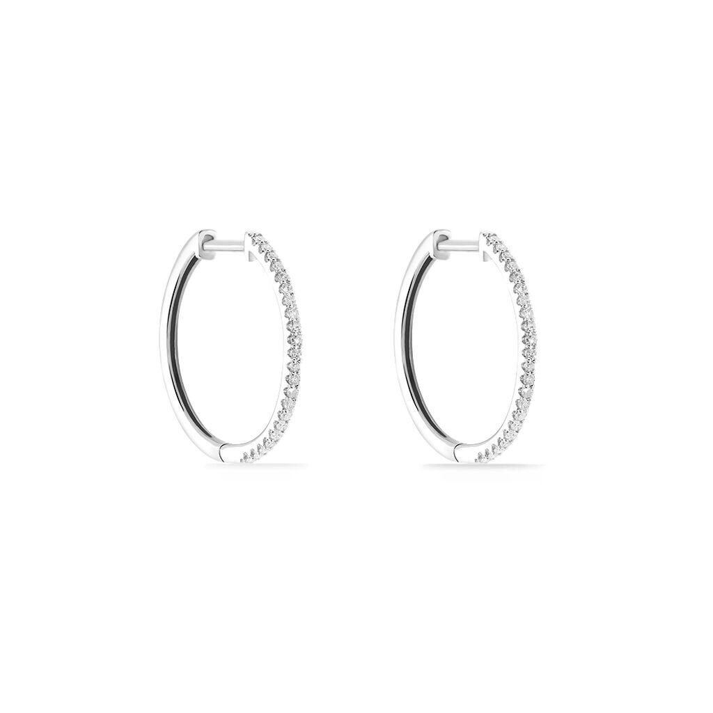 Créoles Aryanna Rondes Or Blanc Diamant - Boucles d'oreilles créoles Femme | Histoire d'Or