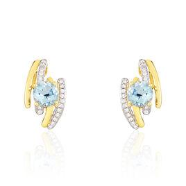 Boucles D'oreilles Puces Or Jaune Topaze Et Diamant - Boucles d'oreilles pendantes Femme   Histoire d'Or