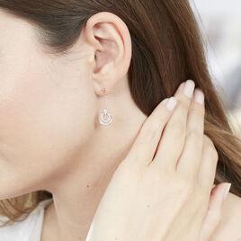 Boucles D'oreilles Pendantes Rama Or Tricolore Oxyde De Zirconium - Boucles d'oreilles pendantes Femme   Histoire d'Or