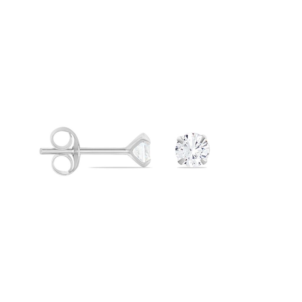 Boucles D'oreilles Puces Laena Argent Blanc Oxyde De Zirconium - Boucles d'oreilles fantaisie Femme   Histoire d'Or