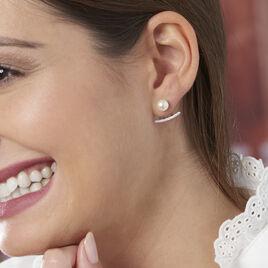 Bijoux D'oreilles Sylviane Argent Perle De Culture Et Oxyde - Boucles d'oreilles fantaisie Femme | Histoire d'Or