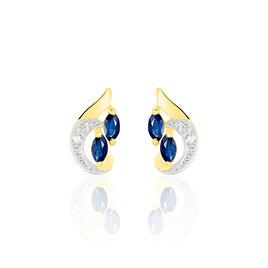 Boucles D'oreilles Puces Sakina Or Jaune Saphir Et Diamant Et Divers - Clous d'oreilles Femme | Histoire d'Or