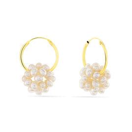 Créoles Adon Semi-baroques Or Jaune Perle De Culture - Boucles d'oreilles créoles Femme | Histoire d'Or