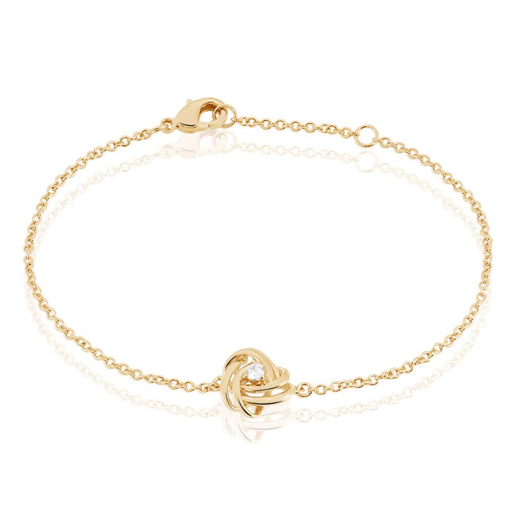 Bracelet Jonc Iwaki Plaque Or Jaune Oxyde De Zirconium - Bracelets fantaisie Femme   Histoire d'Or