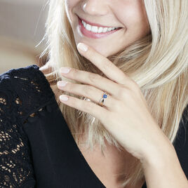 Bague Solitaire Lovita Or Jaune Saphir Et Diamant - Bagues solitaires Femme   Histoire d'Or